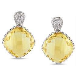 Miadora 14k White Gold 36 1/2 CT TGW Citrine and 1/3 Ct TDW Diamond Stud Earrings (G-H, SI1-SI2)