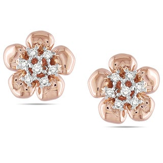 Miadora 14k Pink Gold 1/6 CT TDW Diamond Earrings (G-H, I1-I2)