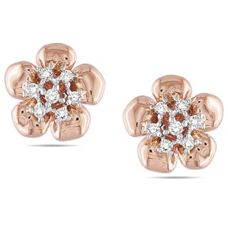 Miadora 14k Pink Gold 1/6 CT TDW Diamond Earrings|https://ak1.ostkcdn.com/images/products/6787499/P14324993.jpg?impolicy=medium