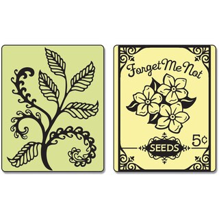 Sizzix Textured Impressions Embossing Folders 2/Pkg-Fern & Seed Packet
