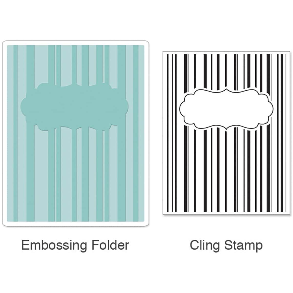 Sizzix Textured Impressions Embossing Folder & Stamp Set-Hero Arts Stripes & Frames