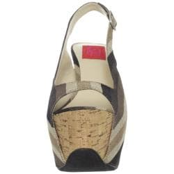 Fahrenheit Women's 'Anne-22' Stripe Canvas Platform Sling-backs