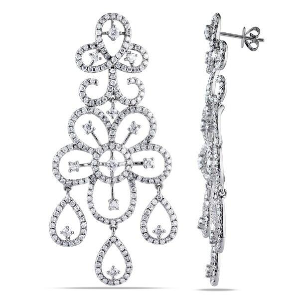 Miadora Signature Collection 14k White Gold 5-1/2ct TDW Diamond Dangle Earrings (G-H, SI1-SI2)