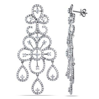 Miadora Signature Collection 14k White Gold 5-1/2ct TDW Diamond Dangle Earrings