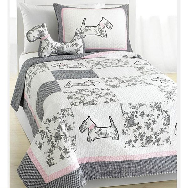 Scottie Pup Full Queen Size 3 Piece Quilt Set Free