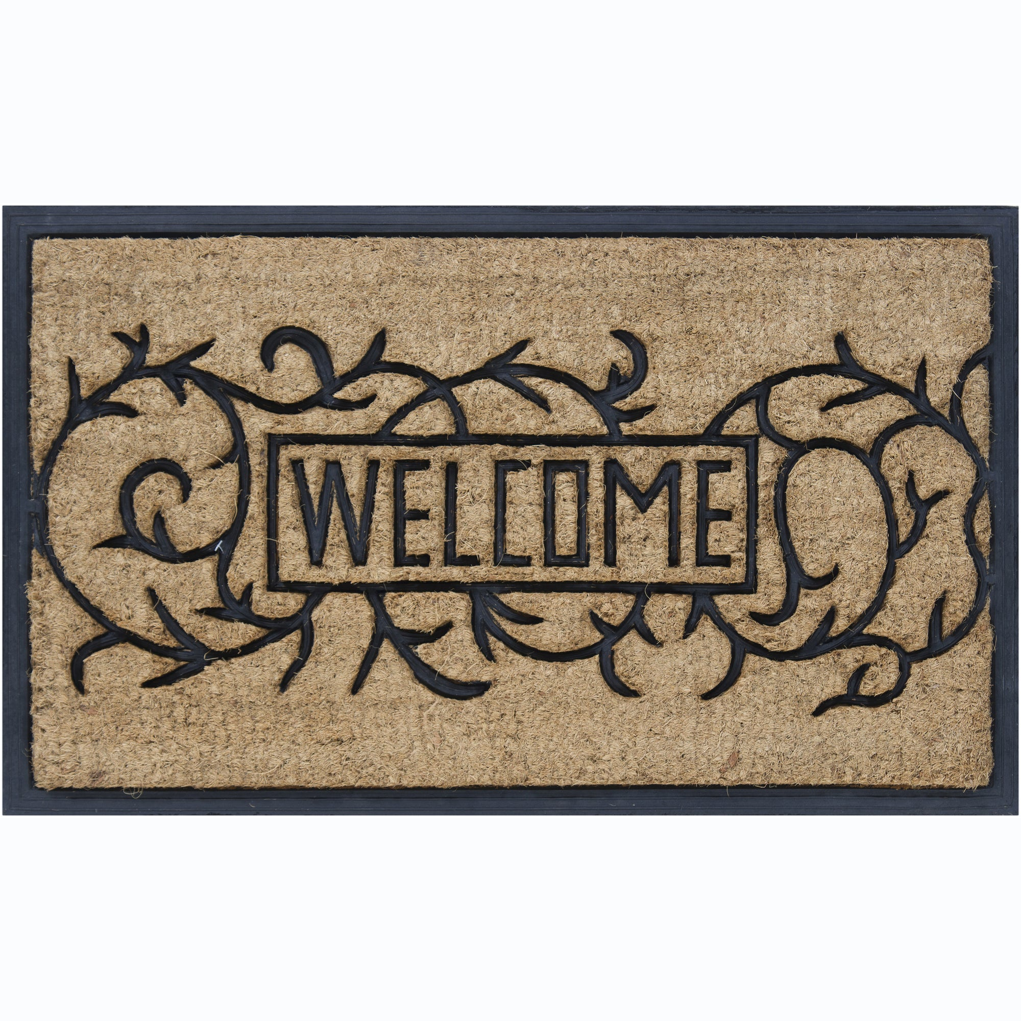 "Artist's Loom Coir/Rubber 'Welcome' Door Mats (1'6"" x 2'6"") (Set of 2)"