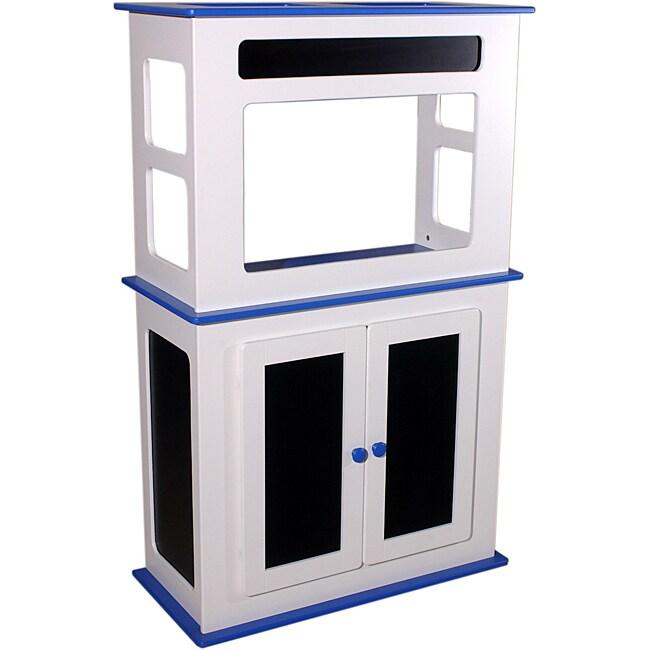 White and Blue Fiberboard Chalkboard 29-gallon Aquarium Stand