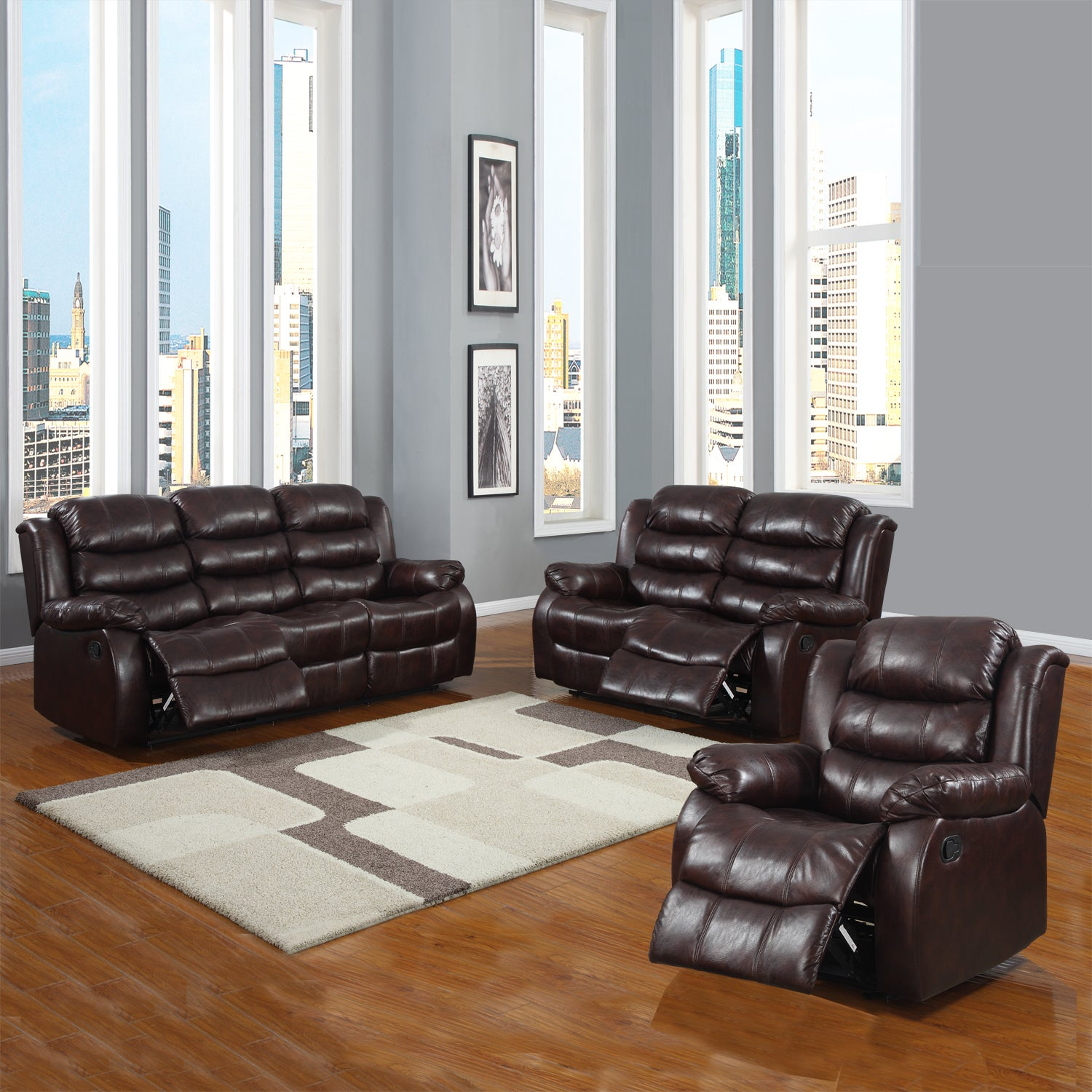buxton burgundy polished microfiber 3-piece reclining living room
