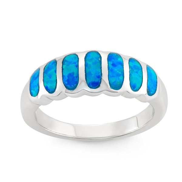 La Preciosa Sterling Silver Created Blue Opal Striped Ring