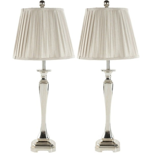 Safavieh Lighting 28-inch Chatham Champagne Silk Table Lamps (Set of 2)
