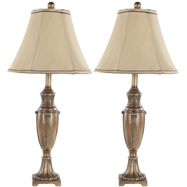 Safavieh Lighting 25.75-inch Napa Gold Silk Table Lamps (Set of 2)