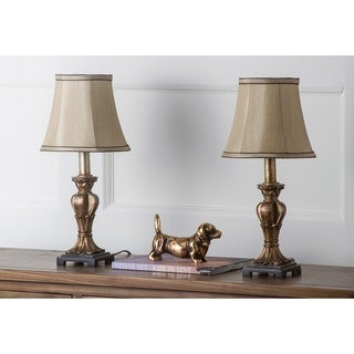 Safavieh Lighting 17-inch August Gold Silk Table Lamp (Set of 2)