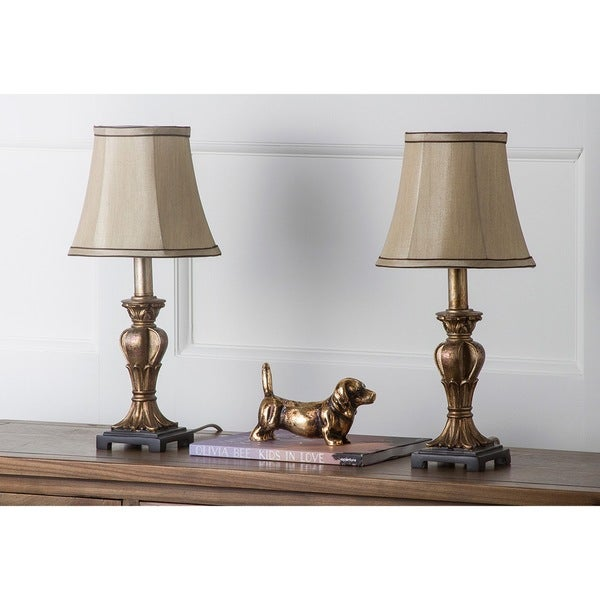 Safavieh Lighting 17-inch August Gold Silk Table Lamps (Set of 2)
