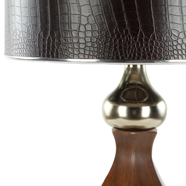 Safavieh Lighting 30-inch Faux Leather Shade Brown Table Lamp
