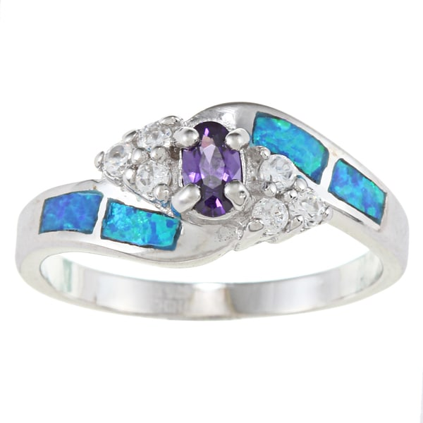 La Preciosa Sterling Silver Blue Opal with Clear and Colored Oval-cut CZ Ring