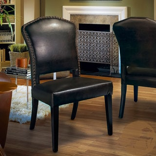 Robinson Brown Leather Dining Chairs (Set of 2) by Christopher Knight Home