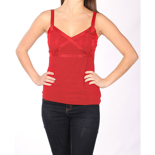Norma Jeane Juniors Red Satin Cross Tank