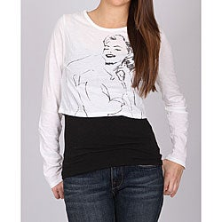 Norma Jeane Juniors White Crinkle Cropped Tee
