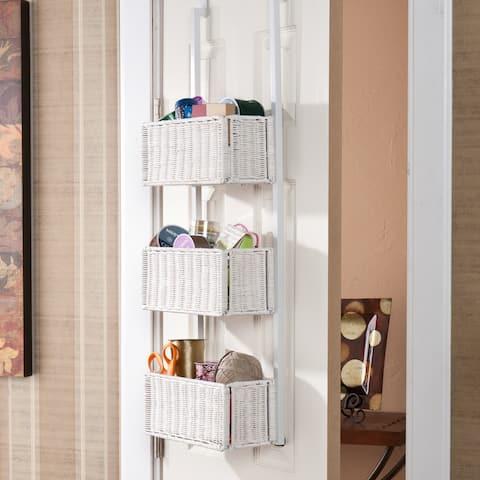 Burnet White 3-Tier Over the Door Basket Storage