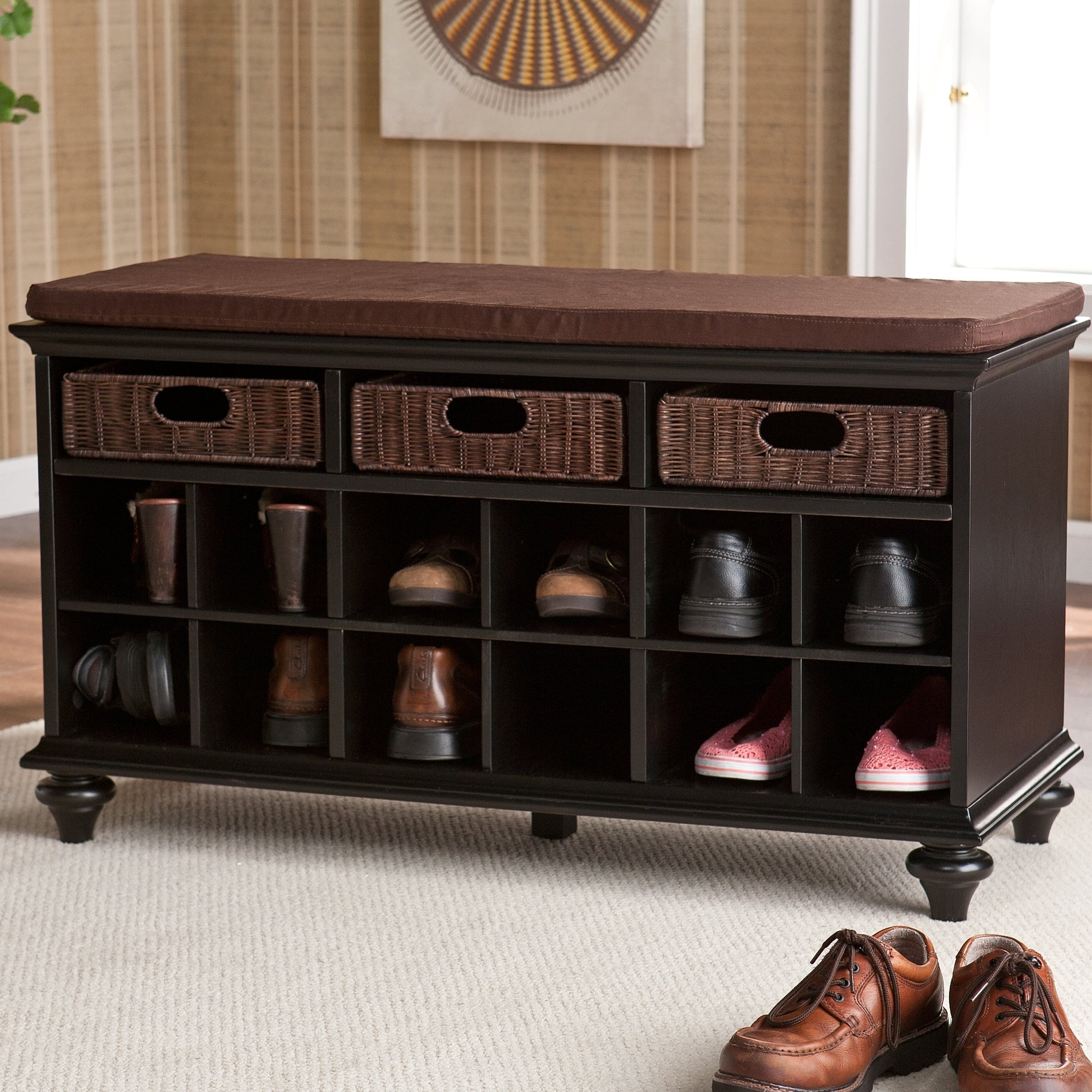 Copper Grove Guillermo Black Entryway Bench With Basket And Shoe Storage