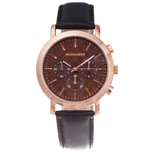 Monument Men's Textured Dial Rose-goldtone Watch