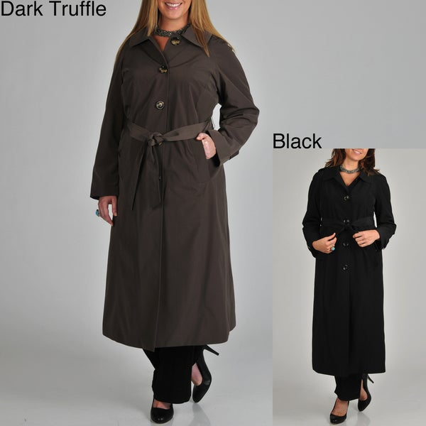 London Fog Women's Plus Belted Long Rain Coat
