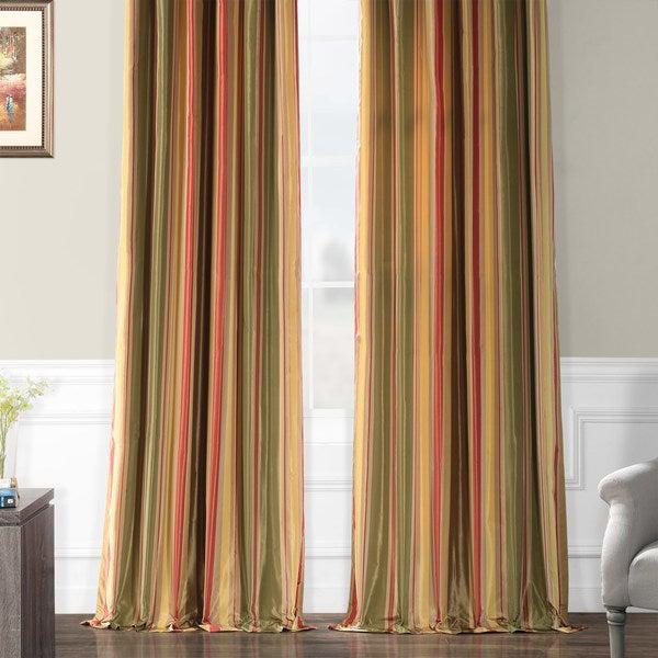 2 Tone Olive /& Gold Country Green Taffeta Faux Silk Quality Curtain Fabric