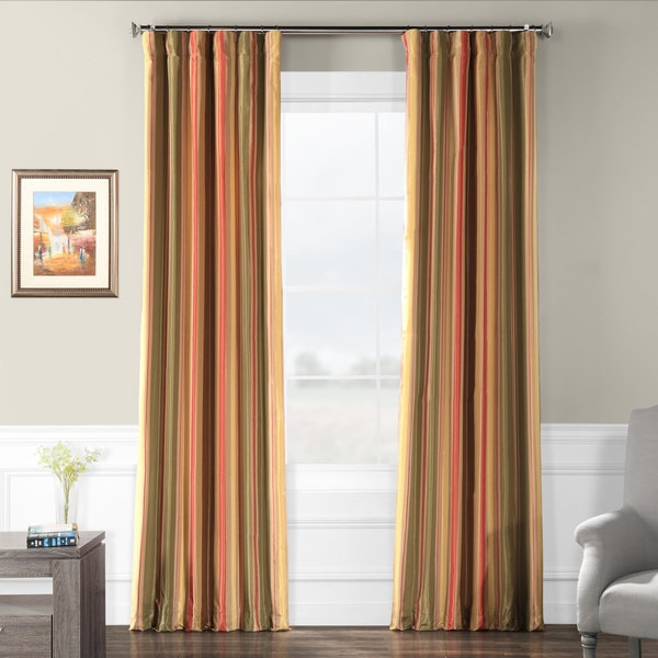 Exclusive Fabrics Signature Stripe Mirage Faux Silk Taffeta Curtain Panel