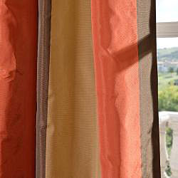 Exclusive Fabrics Signature Stripe Burma Faux Silk Taffeta Curtain Panel