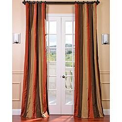 exclusive fabrics red golden tan striped faux silk taffeta - Rust Color Curtains