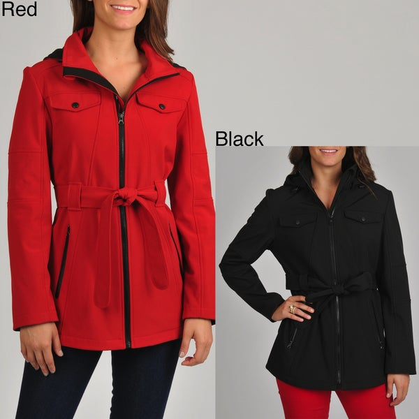 London Fog Women's Belted Soft Shell Active Jacket