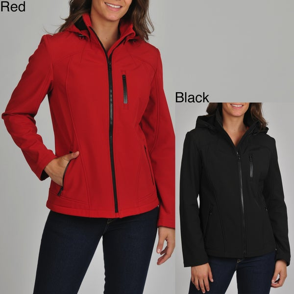 London Fog Women's Soft Shell Active Jacket with Detachable Hood