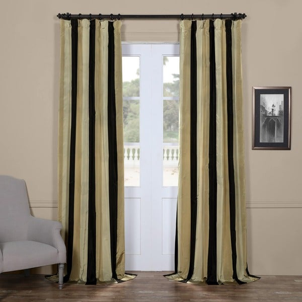 Exclusive Fabrics Signature Stripe Sake Faux Silk Taffeta Curtain Panel