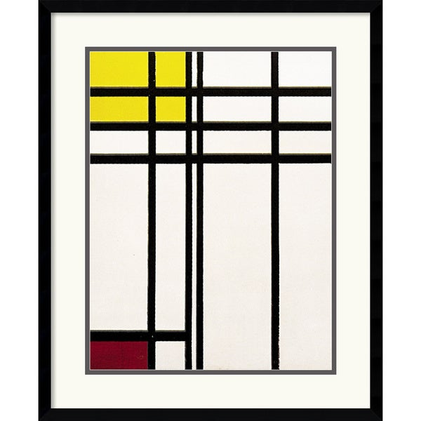 Piet Mondrian 'Opposition of Lines Red and Yellow' Framed Art Print