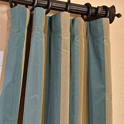Exclusive Fabrics Signature Stripe Marin Faux Silk Taffeta Curtain Panel