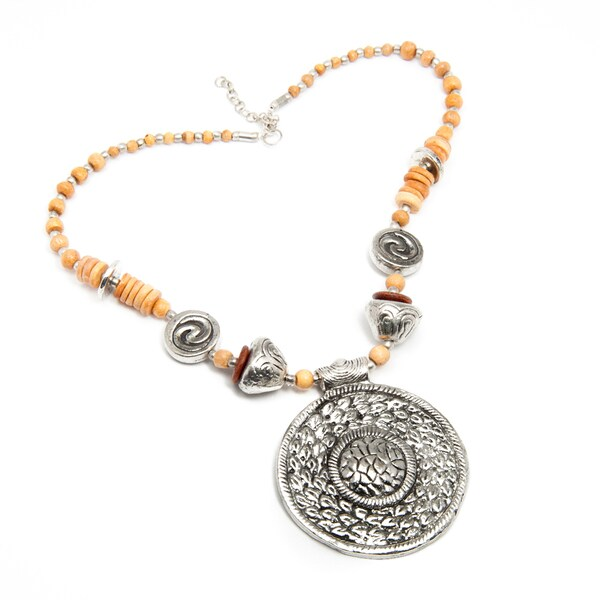 Handmade Charm and Wood Necklace (India)