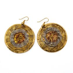 Wire Web Woven High-polish Copper/Brass-wire Dangle Earrings