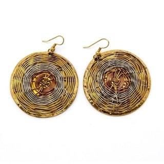 Handmade Wire Web Woven High-polish Copper/Brass-wire Dangle Earrings - YELLOW (India)