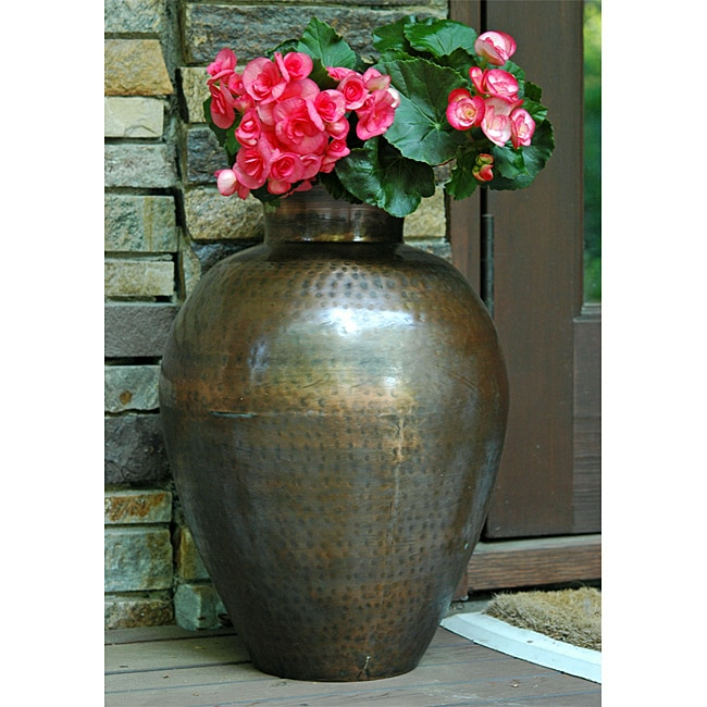 Hammered Metal Planter with Copper Finish (India)