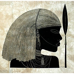 Handmade 'Maasai with Spear' Heidi Lange Screen Print (Kenya)