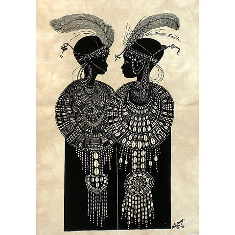 Handmade 'Maasai Girls with Ostrich Feathers' Heidi Lange Screen Print (Haiti)