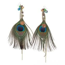 Striking Peacock Feather Brass Earrings (Thailand)