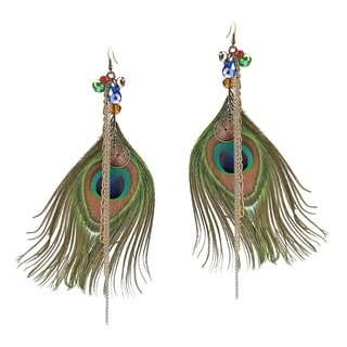 Handmade Striking Peacock Feather Brass Earrings (Thailand)