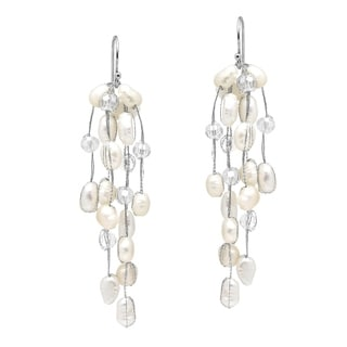 Handmade Striking Waterfall Freshwater White Pearl Silver Earrings (Thailand)