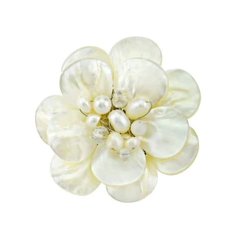 Handmade White Lotus Mother of Pearl Petals Floral Pin or Brooch (Thailand)