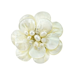 White Lotus Mother of Pearl Petals Floral Pin (Thailand)
