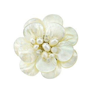 Handmade White Lotus Mother of Pearl Petals Floral Pin (Thailand)