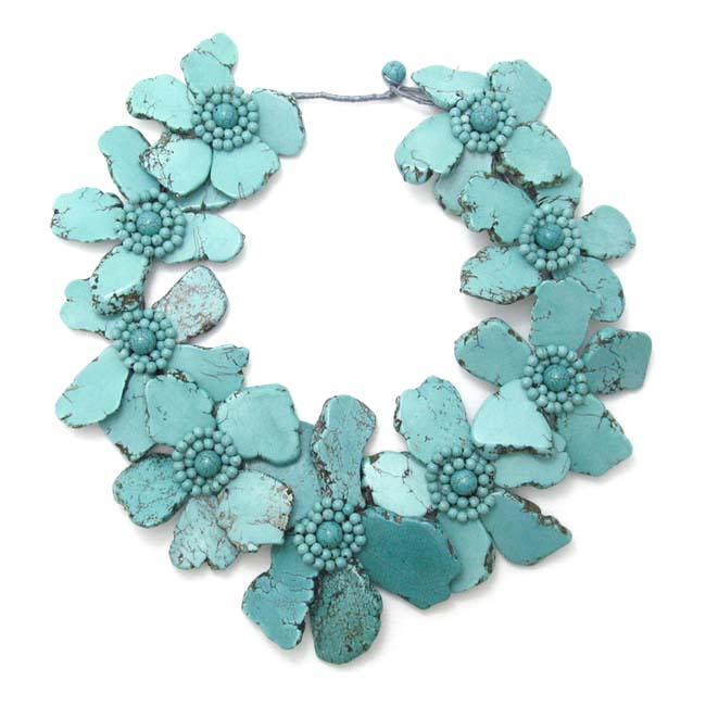 Handmade Dramatic Floral Turquoise Slab Stone Necklace (Thailand)