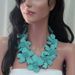 Dramatic Floral Turquoise Slab Stone Necklace (Thailand)