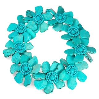 Handmade Dramatic Floral Turquoise Slab Stone Statement Necklace (Thailand)